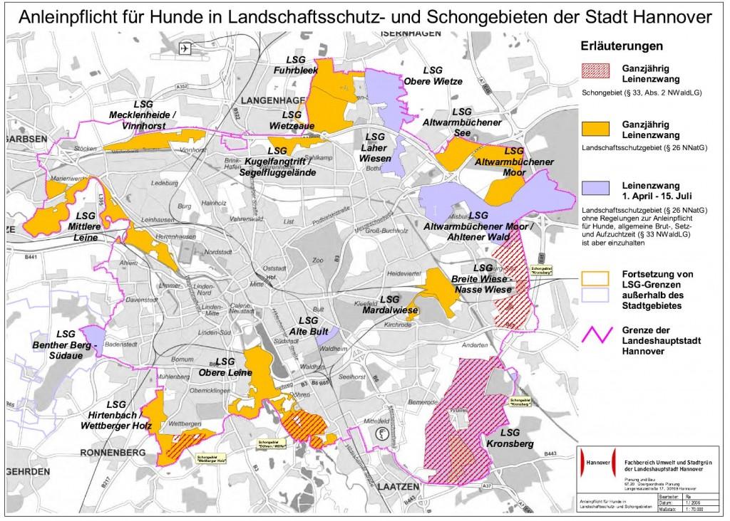 Anleinpflicht für Hunde in Landschaftsschutz- und Schongebieten im Stadtgebiet. Quelle: Stadt Hannover