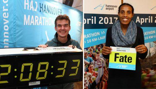 Starten in Hannover: Arne Gabius und Fate Tola. Fotos: Petrow/Montage
